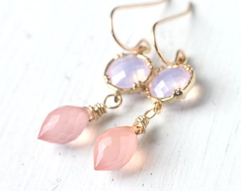 Pastel Pink and Lavender Earrings in 14k Gold, Delicate Gold Dangle Earrings with Opal Connector and Chalcedony