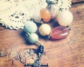 Colorful Beaded Bracelet, Shabby Bohemian Chic Vintage Bead Bracelet, Rosary Style, Eco Friendly Jewelry for Women