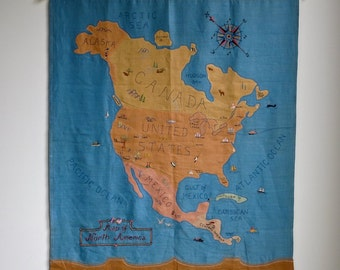 Vintage Needlepoint Picture - Map of North America- United States Canada Mexico 1930s Pictorial Embroidered