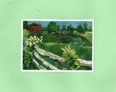 "Aceo Landscape Painting Little Print, Countryscape, Green Fields ,Red Barn ,Old Fence,""Sheep"",print of my original oil painting"