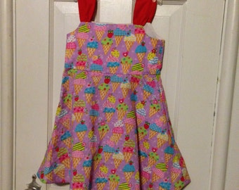 CLEARANCE 40% off!  Child's ice cream cone dress, purple with multicolored ice cream cones, 3T