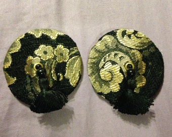 Brocade pasties and tassels in black and gold damask, tassel, size large