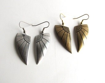 art deco warrior wing earrings . choose silver or gold