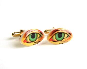 human eye cufflinks . anatomical eye cuff links