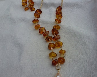 Natural Amber, Fresh Water Freeform Pearl and 14K Gold Filled Puffed Heart Necklace