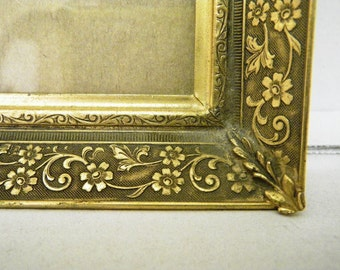 Antique Gold Engraved Metal Picture Frame Late 1800s Early 1900s 8 x 10 opening