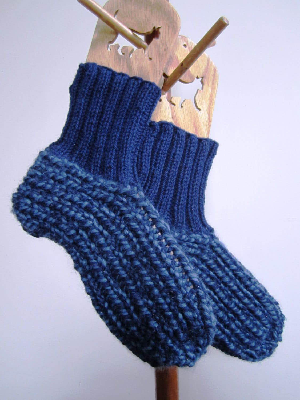 Slipper Socks Booties Unisex Chunky Wool Slippers Cuff Navy