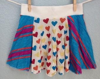 Girls Skirt - Blue Magenta Stripe Heart Twirl, READY TO SHIP (12-18m, 2t, 3/4, 5/6, 7/8, 11/12, 13/14)