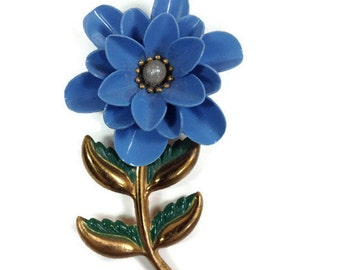 Vintage Periwinkle Blue Flower Jewelry Magnet