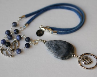 Blue Sponge Coral and Angelite Blue Suede Cord Gemstone Magnetic Clasp Eyeglass/Badge Lanyard