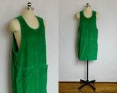 SALE - Vintage Emerald green corduroy jumper dress