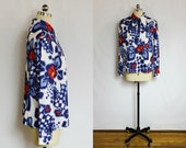 Vintage Blue red and white mod floral shirt