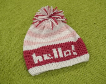 Newborn baby hat - hand knit with 'hello!' greeting