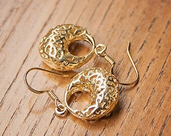 Handmade Gold Earrings Gold Filigree Earrings Gold Dangle Earrings