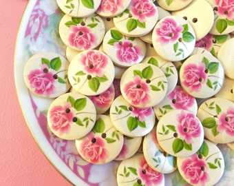 Shabby Pink Rose Buttons For Cottage Style Crafting, Large Natural Wooden Sewing Buttons, Pink Flower Buttons, Wood Button Lot,23mm (10)