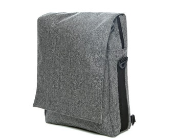 Gray Cotton, Tweed,Padded Laptop Bag,messenger bag,backpack- Niko in grey