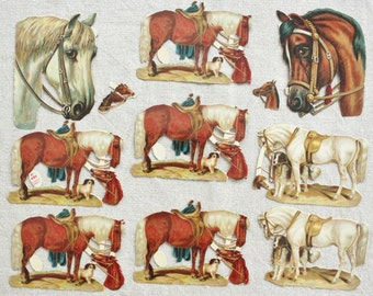 Antique German Die Cuts of Horses Unused