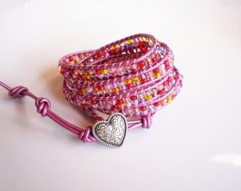 ON SALE Pink Wrap Bracelet Heart Wrap Bracelet Czech Glass Bracelet