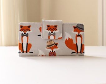 Fox Wallet, Gray Fabric Wallet, Woodland Fox; Handmade Bifold Wallet in Gray Foxes - PREORDER