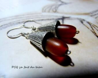 Horn & silver earings