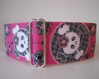 Pink Martingale Collar, Whippet Collar, 2 Inch Martingale Collar, Pink Skull Dog Collar, Girlie Skulls Dog Collar, Greyhound Collar