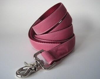 Velvet Dog Leash Lead, Old Rose Velvet Leash, 5 foot Dog Lead, Pink Velvet Leash, Velvet Leash Lead