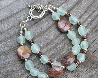 Recycled Glass and Green Opal Gemstone Double Strand Bracelet