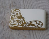 Elgin American cigarette case-cream enamel with gold tone inlay-Made in USA