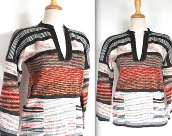 Vintage 1970's Sweater // 70s Colourful Stripe Bell Sleeve Pullover Sweater // Autumn Colours