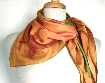 Vintage  Floral 1970s Scarf  // 60s 70s Square Scarf  // Yellow Orange Green Flowers // Nature