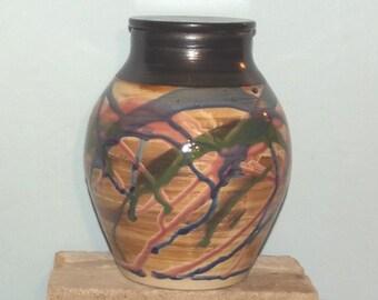 Urn hand thrown stoneware lidded jar