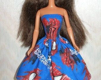 Handmade Barbie clothes - blue, red and black spiderman dress