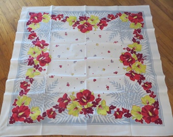 Vintage Tablecloth-Red-Yellow and Gray Floral-Bright and Bold-Unused