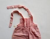 Vintage 1950s Overalls / Baby Overalls / 1940s Overalls / 1940s Pants/ Deadstock Coveralls Seersucker Stripes Baby  12 Months