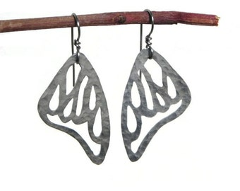 Butterfly wing earrings, metal cutout butterfly wing earrings, Butterfly jewelry, flirty earrings