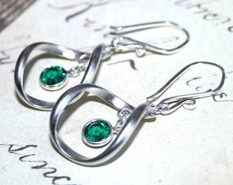 Modern Twist Earrings in Emerald - Twisted Hoop Earrings - Swarovski Crystal Drops and Designer Sterling Silver Earwires