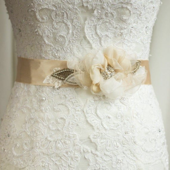 Wedding Dress Belt Sash Burlap bridal belt sash by LeFlowers