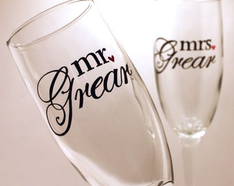 mr and mrs Wedding Toasting Flutes, champagne glasses, personalized in calligraphy
