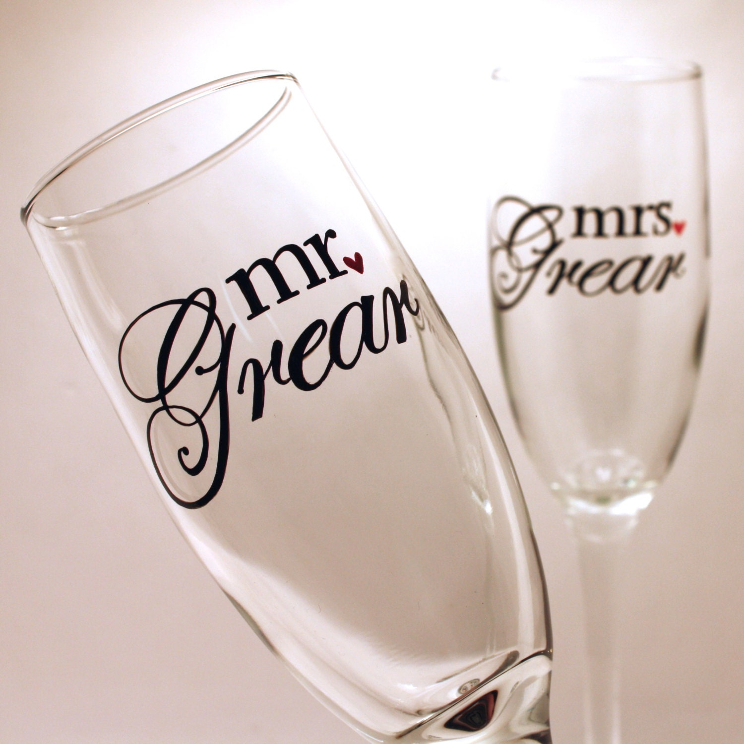 mr and mrs wedding toasting flutes personalized by artfullysv