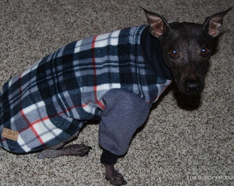 """Clearance Ready to ship 15"""" fleece Sweatshirt style two legged for Italian Greyhounds, American Hairless Terriers, Cresteds all small dogs"""