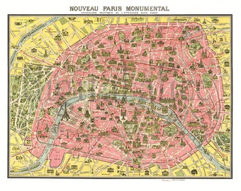 Antique PARIS MAP - Old Pictorial Map of Paris FRANCE -  Instant Download Digital Printable Pictorial French  Map