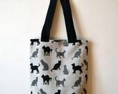 Linen Canvas Tote Bag With Cat  Print - Reusable Market Bag -  Cat Bag - Linen Tote Bag