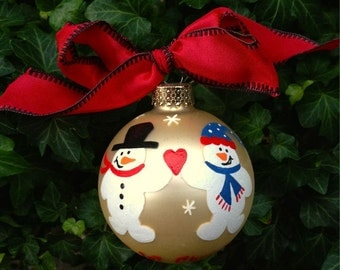 Our First Christmas - Snowman Ornament - Handpainted Personalized Glass Bauble - Our New Home - Mr and Mrs, Newlywed Ornament, Just Married