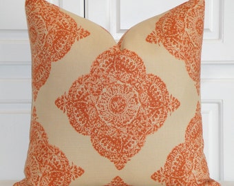 Duralee fabric - Decorative Pillow Cover - Woodblock Batik - Mani In Terracotta - Clay and Tan