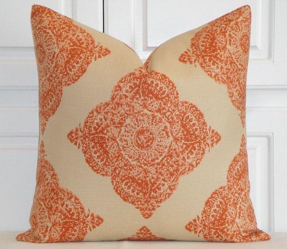 Duralee fabric - Decorative Pillow Cover - Woodblock Batik - Mani In Terracotta - Clay and Tan