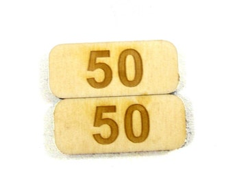 50 Point Counters for board games, Set of 8 Birch