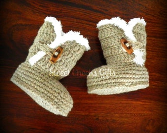 Snuggle Baby Boots -- Made to Order -- Crochet Wool Fall Winter Booties