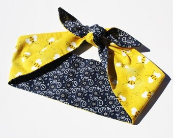 Vintage Inspired Headscarf, Retro, Bumble Bees and Blue Paisley