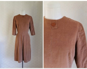 vintage 1950s corduroy dress - GINGER SNAP brown day dress / M