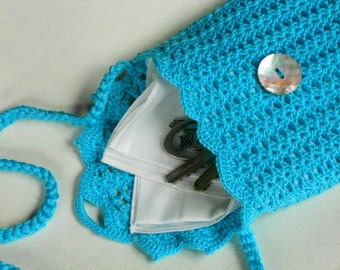 Turquoise bag for women crochet pouch long strap purse for travel